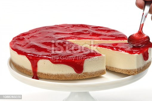 strawberry jam on cheesecake