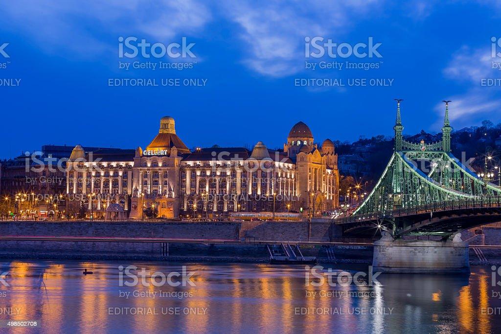 Gellert Hotel and Liberty Bridge in Budapest at dusk stock photo