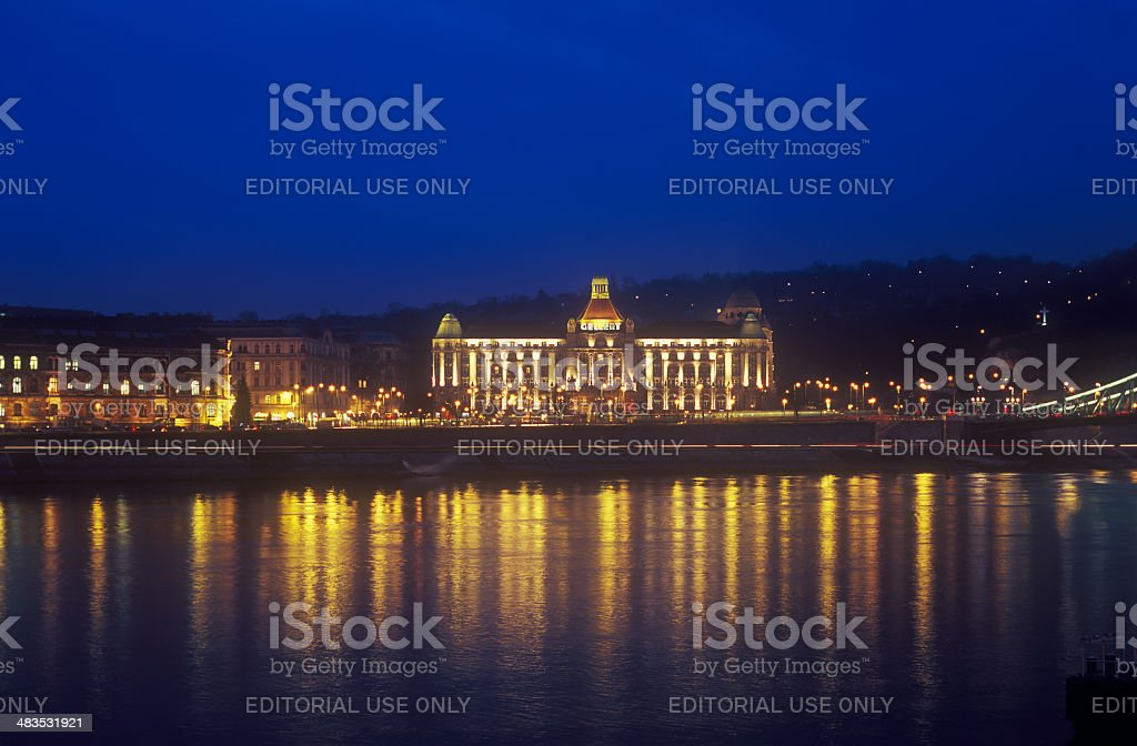 Gellert Hotel Palace in Budapest at night. stock photo