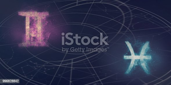 istock Gemini and Pisces horoscope signs compatibility. Night sky Abstract background. 996828842