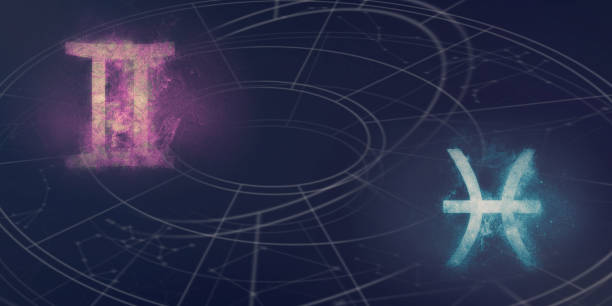 Zwillinge und Fische Horoskop Schilder Kompatibilität. Nacht Himmel abstrakten Hintergrund. – Foto
