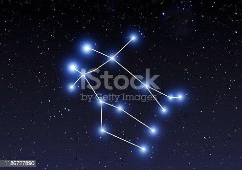 Gemini constellation on the starry sky