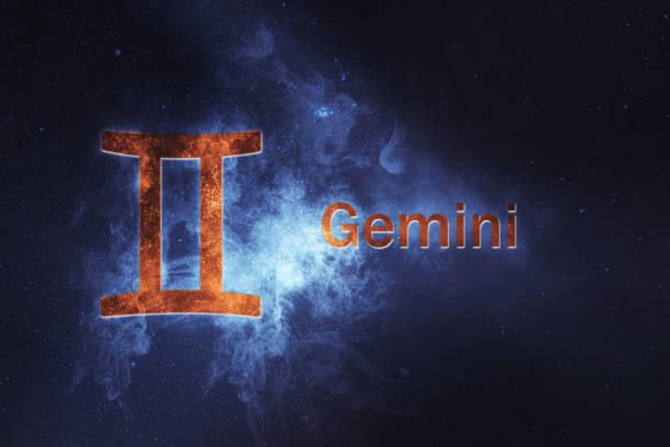 Gemini Horoscope Sign. Abstract night sky background stock photo