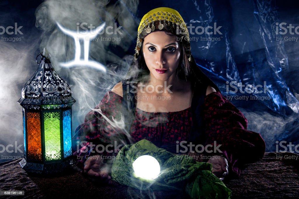 Gemini Horoscope Zodiac Sign with Psychic or Fortune Teller stock photo