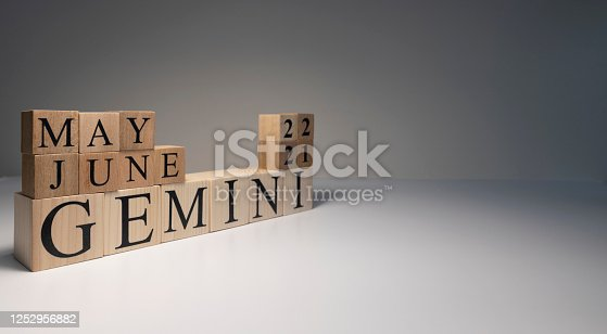 810006098 istock photo Gemini word on wooden cubes on white background. 1252956882