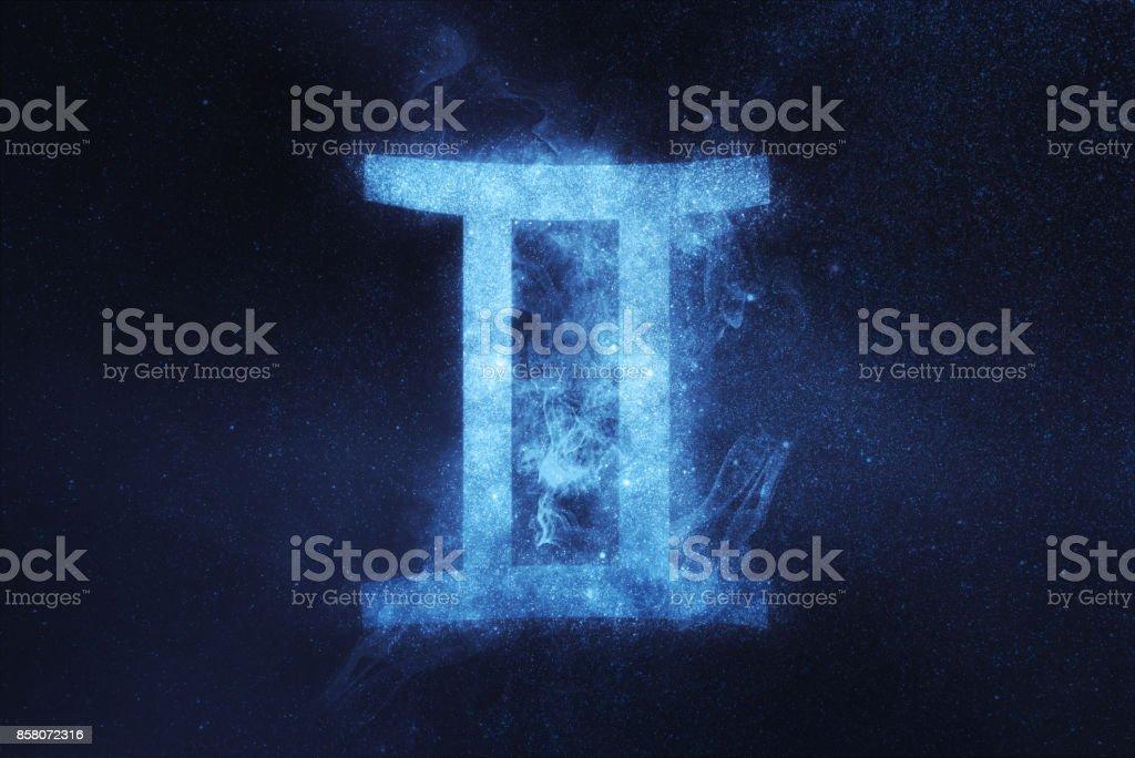 Gemini Zodiac Sign. Abstract night sky background stock photo