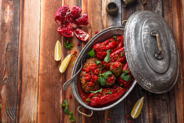 Gemista -or stufed red peppers with rice, greek cuisine stock photo