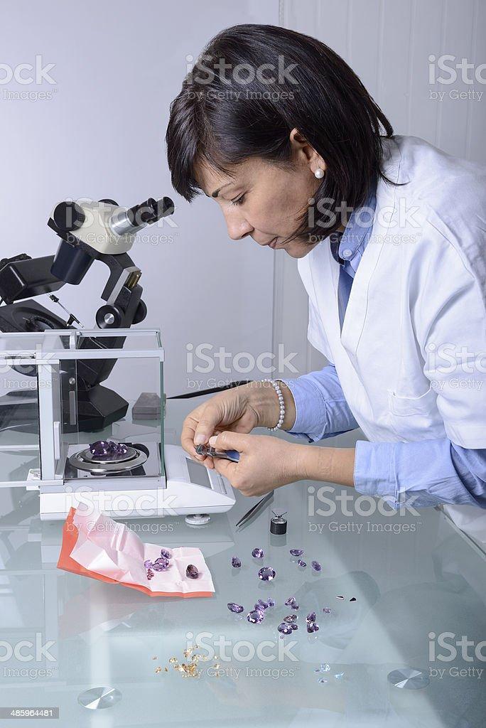 Gemmology analysis stock photo