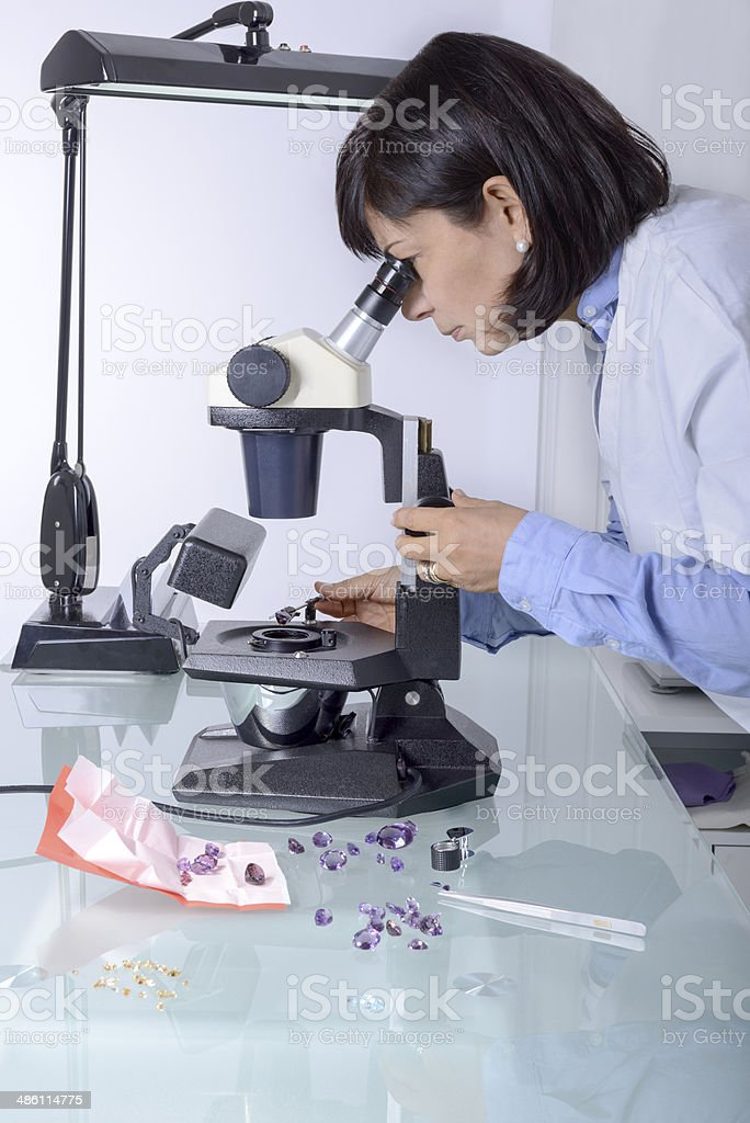 Gemmology analysis stock photo