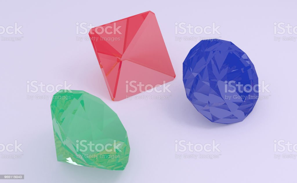 Gems 3D illustration stock photo