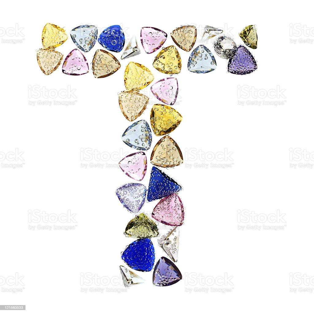 gemstones alphabet letter t royalty free stock photo
