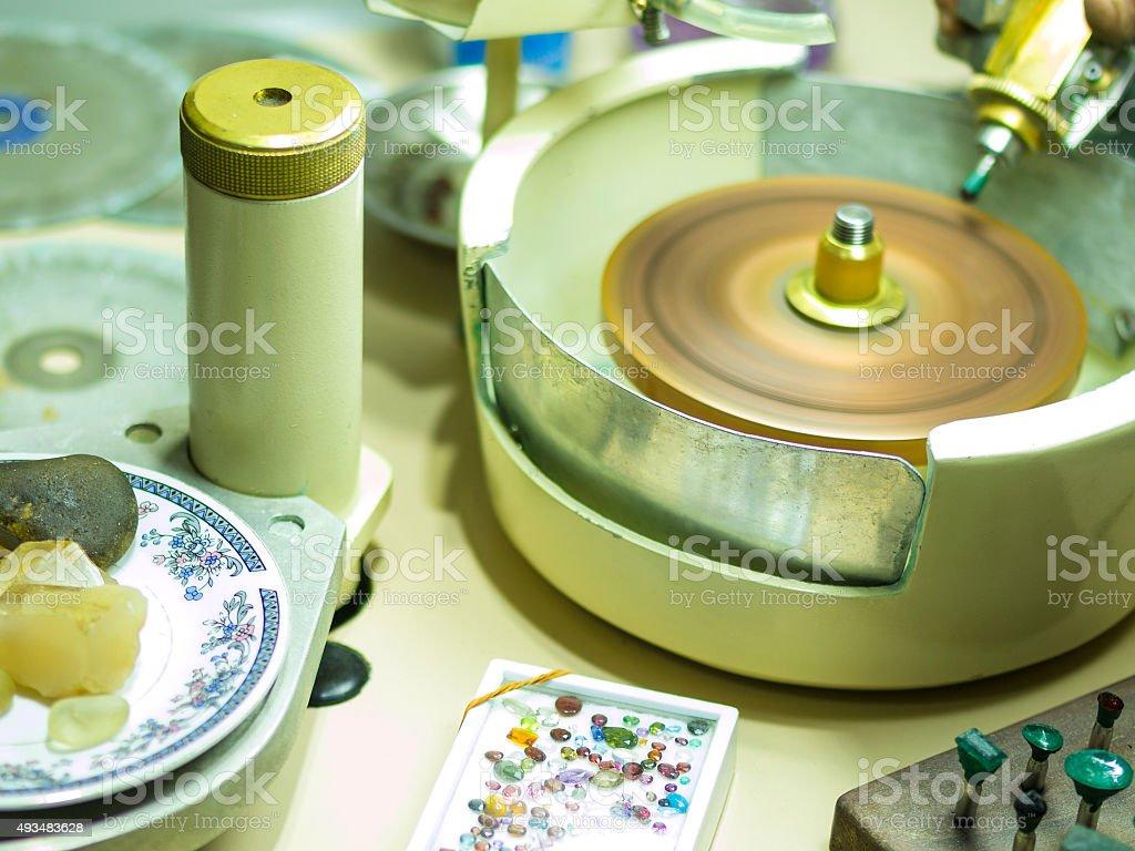 Gemstones grinding in Sri Lanka stock photo