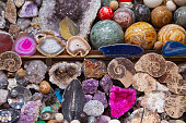 Various gemstones on display in the souk of Marrakesh in Morocco.