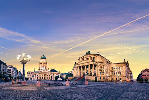 Gendarmenmarkt in Berlin on a sunset, panoramic image