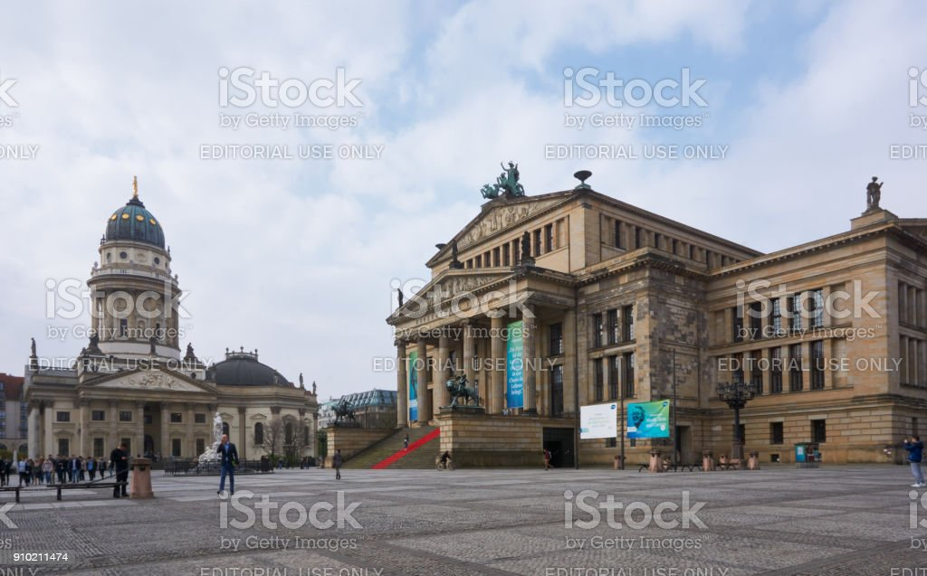 Gendarmenmarkt market and German Cathedral at the center of Berlin stock photo