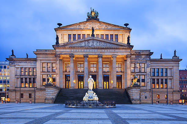 Gendarmenmarkt square in Berlin, Germany The neo-classical theatre building is used as a concert hall, and is home of the Berlin Symphony Orchestra. It is located in the Gendarmenmarkt near Unter den Linden. gendarmenmarkt stock pictures, royalty-free photos & images