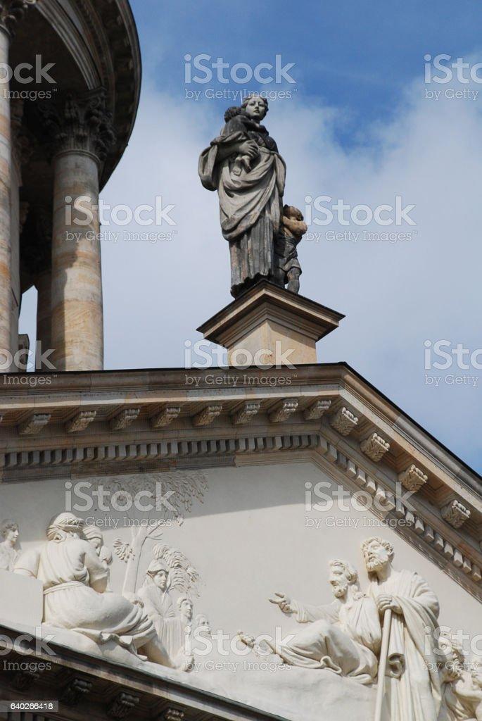 Gendarmenmarkt (Berlin, Germany): Statue of the French Church stock photo