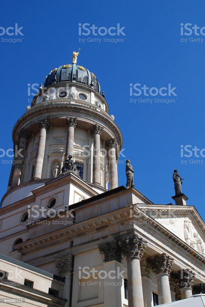 Gendarmenmarkt (Berlin, Germany): The French Church, in German: Franzoesischer Dom stock photo