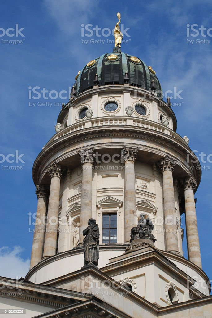 Gendarmenmarkt (Berlin, Germany): The French Church, in German:Franzoesischer Dom stock photo