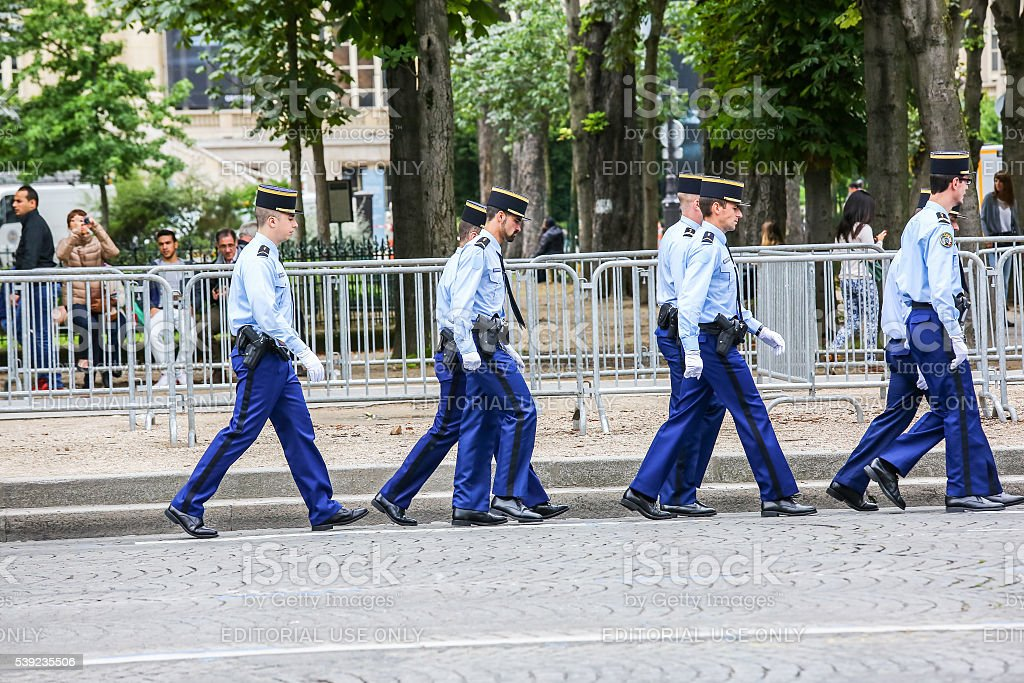 Gendarmerie group during national day, Champs Elysee avenue. royalty-free stock photo