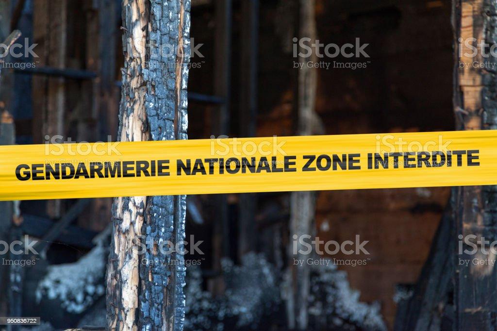 Gendarmerie Nationale, zone interdite stock photo