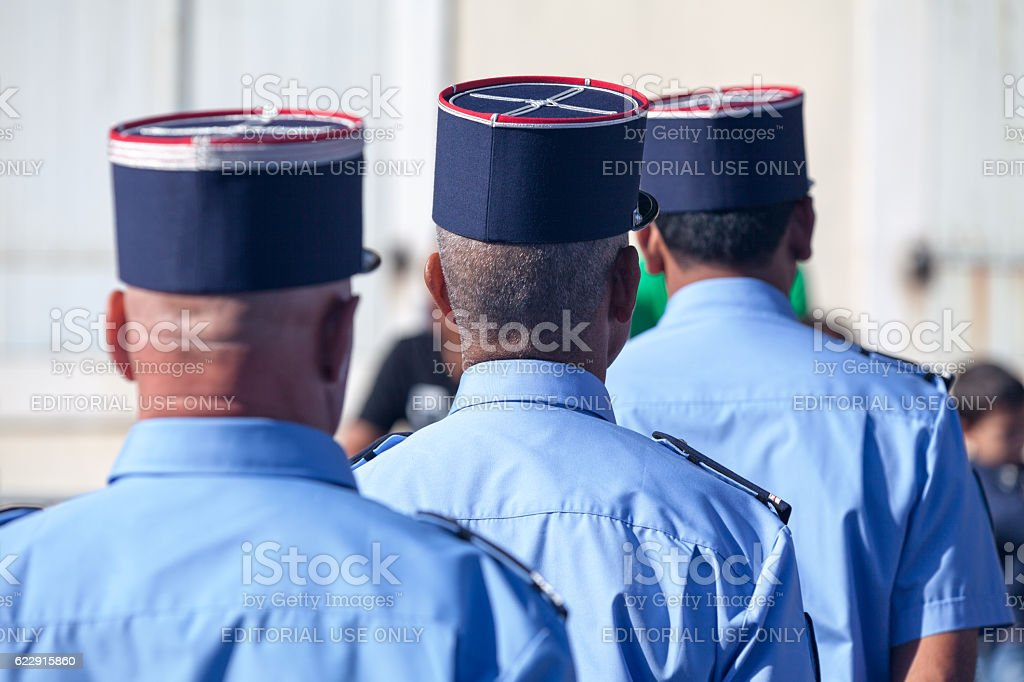 Gendarmes parading during Bastille Day stock photo