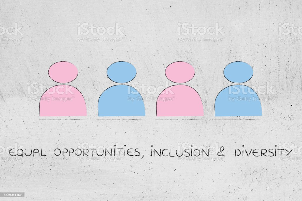 gender equality and equal opportunities, team of men and women stock photo