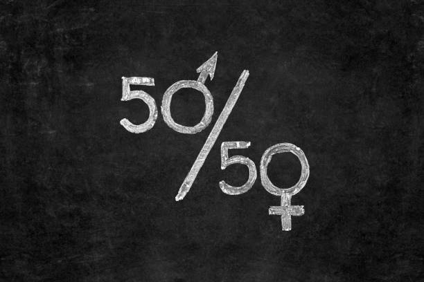 gender equality concept. fifty percent of each gender - gender stereotypes stock photos and pictures