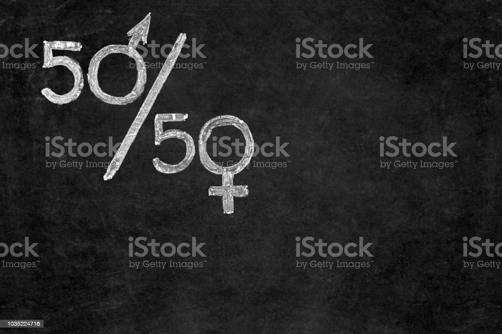 Gender equality concept. Fifty percent of each gender.
