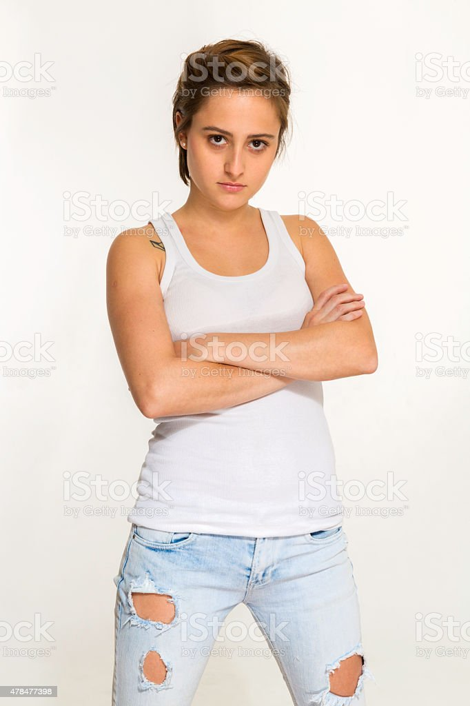 Gender fluidity young woman with attitude and short hair stock photo