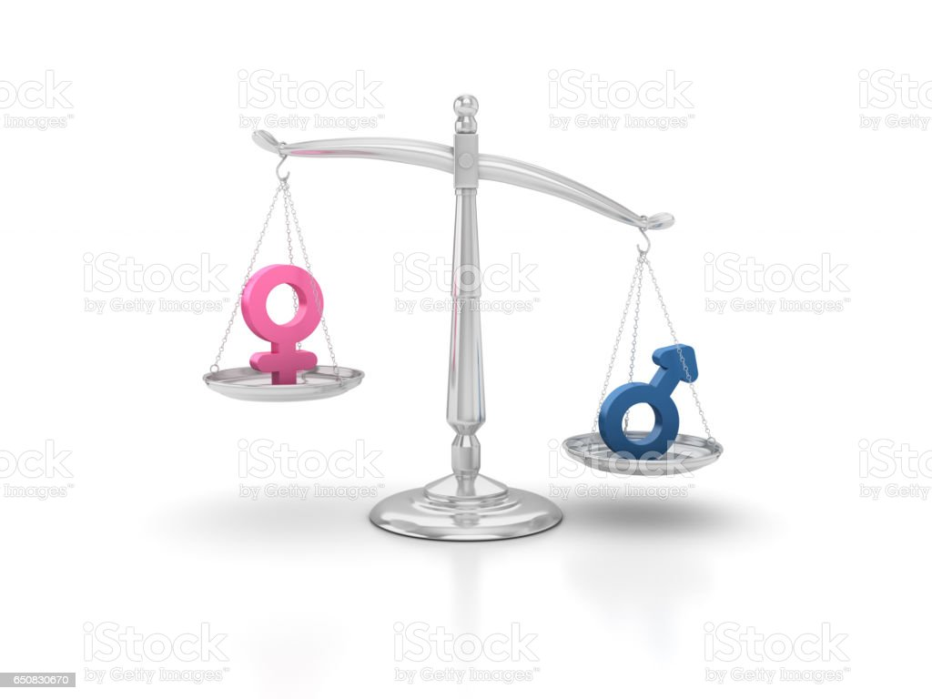Gender Icons on Scales of Justice - 3D Rendering stock photo