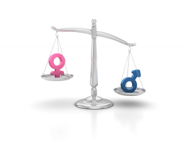 gender icons on scales of justice - 3d rendering - imbalance stock photos and pictures