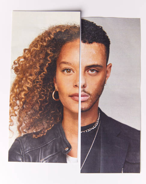 Gender Identity Concept With Composite Image Made From Halved Male And Female Facial Features Gender Identity Concept With Composite Image Made From Halved Male And Female Facial Features halved stock pictures, royalty-free photos & images