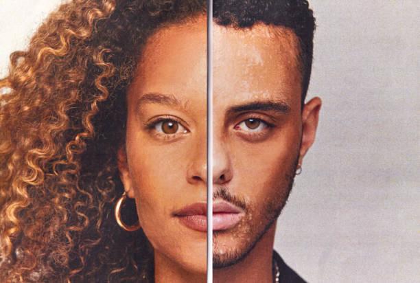 """半分になった男性と女性の顔の特徴から作られた合成画像を持つジェンダーアイデンティティコンセプト - """"gender fluid"""" ストックフォトと画像"""