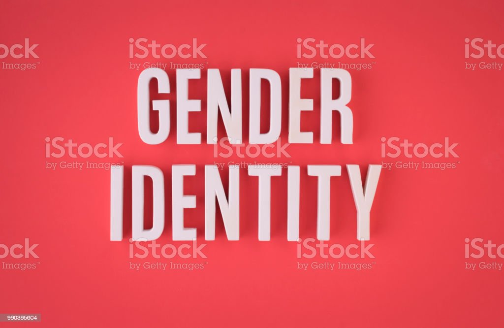 Gender identity lettering sign stock photo