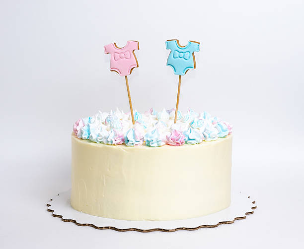 gender reveal cake with marshmallow and gingerbread stock photo