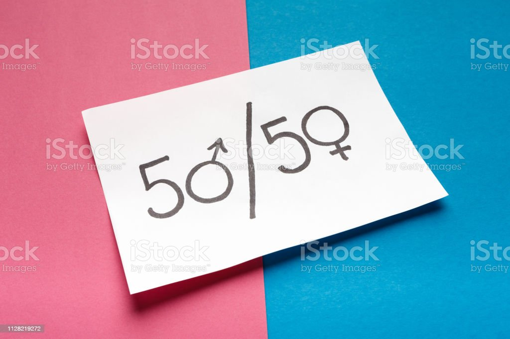 Gender stereotypes, role of man and woman in society. White card with...