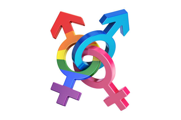 gender symbols, 3D rendering isolated on white background gender symbols, 3D rendering isolated on white background transgender stock pictures, royalty-free photos & images