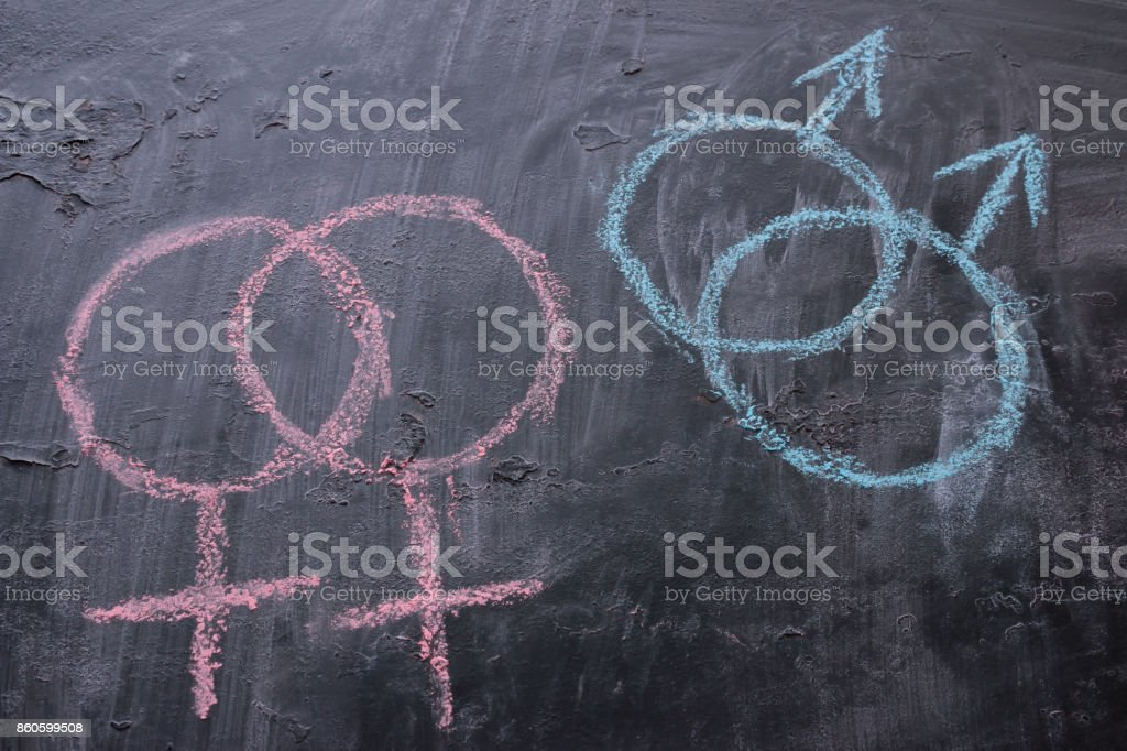 Gender Symbols Of Female And Male Homosexuality On A Black