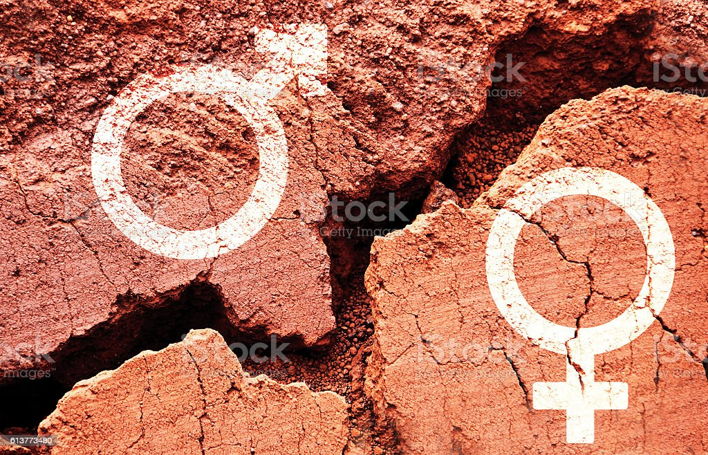Gender symbols on earth background with a big crack stock photo