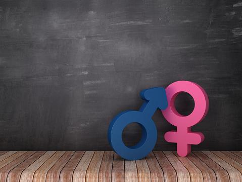 Gender Symbols on Wood Floor - Chalkboard Background - 3D Rendering