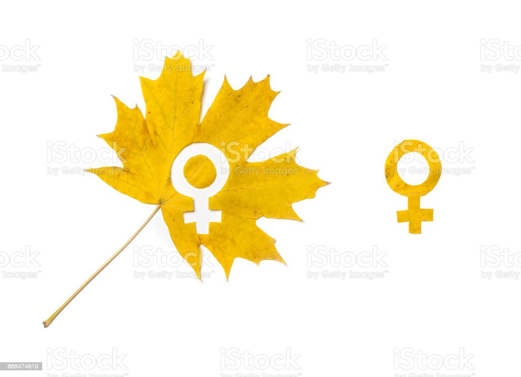 Gender symbols. Sign of a woman carved in a wedge sheet stock photo