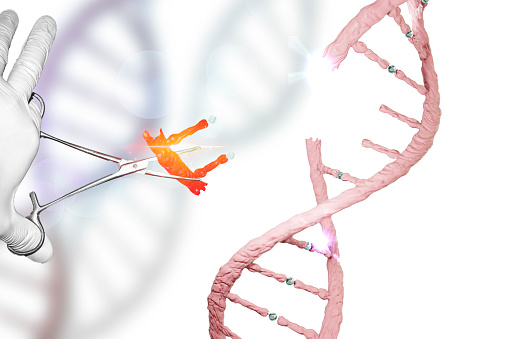 Gene Editing Gene Therapy Genome Editing Dna Manipulation Dna Editing Gloved Hand Holding Forceps In Genes Research Stock Photo - Download Image Now