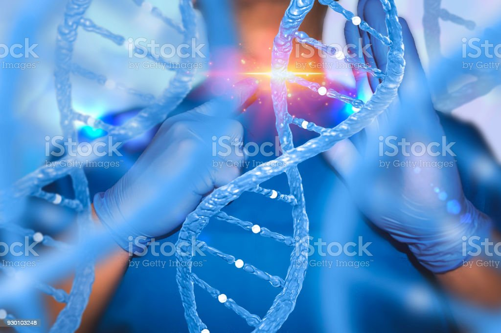 Gene editing genes therapy concept with nurse and DNA lab technician medical stock photo