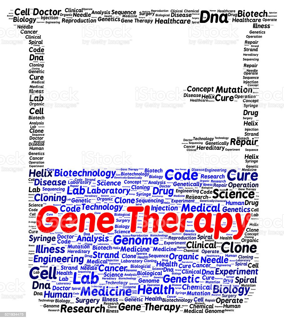 Gene therapy word cloud shape stock photo