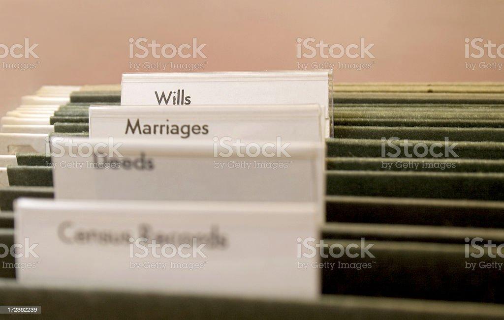Genealogy File Folders stock photo