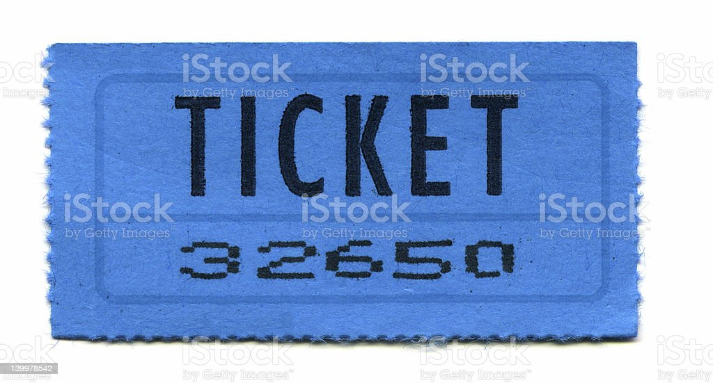 General Admission Ticket (Blue) stock photo