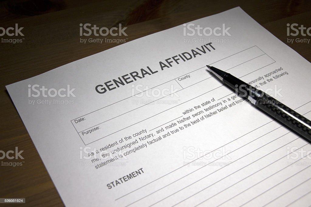 General Affidavit Document Stock Photo & More Pictures of Affidavit