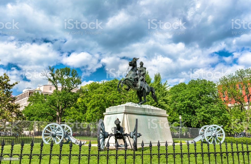 General Andrew Jackson Statue on Lafayette Square in Washington, D.C stock photo