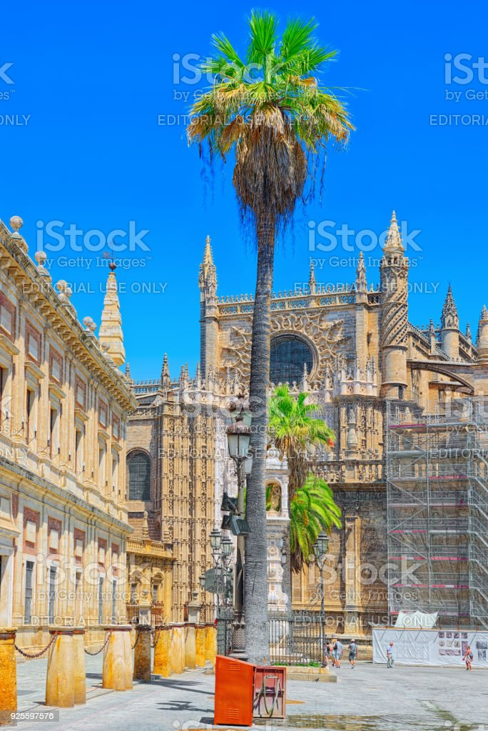 General Archive of the Indies (Archivo General de Indias), housed in the ancient merchants exchange of Seville, Spain. stock photo